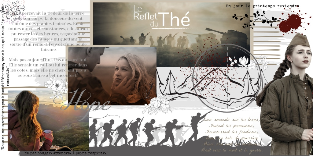 Moodboard d'inspirations pour le livre 'Le reflet du thé' d'Isabelle Morot-Sir